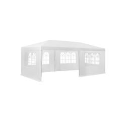 tectake Pavillon Garten Pavillon 6x3m mit 5 Seitenteilen weiß
