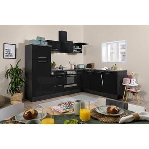Winkelküche Küchenzeile Küche L-Form Einbau Eiche schwarz 260x200cm respekta