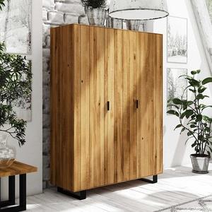 Schlafzimmerschrank aus Wildeiche Massivholz Stahl