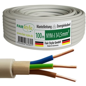 Fair Style 100m NYM-J 3x1,5 mm2 Mantelleitung Elektro Strom Kabel Kupfer eindrähtig Made in Germany