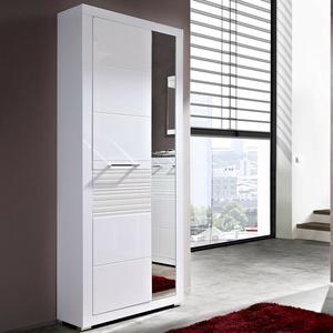 Garderobenschrank Life Flurmöbel Garderobe Schrank weiß Hochglanz geriffelt