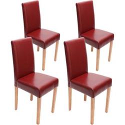 4x Esszimmerstuhl Stuhl Küchenstuhl Littau ~ Leder, rot helle Beine