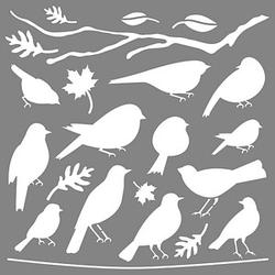 Rayher Dekor-Schablone Vögel grau
