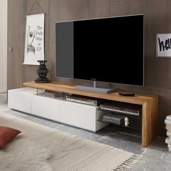 TV Lowboard in Weiß mit Eiche Massivholz