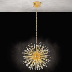 Kristall LED Hängelampe Vivaldo 1 Vergoldet, Klar