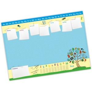 Kinder Schreibtischunterlage Alphabet, Zahlen, 1x1-25 Blatt Papier zum abreißen, A2 Malunterlage - Geschenk zum Schuleintritt Schulanfang Einschulung Junge Mädchen blau Wochenplaner Notizen