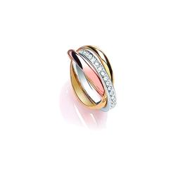 Buckley London Ring dreifarbig mit Kristallen bunt 18,5