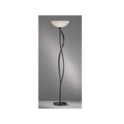 FISCHER & HONSEL LED Deckenfluter, Landhaus-Stil antik mit Glas Lampen-Schirm, große Steh-Lampe mit weißem Schirm Design-lampe fürs Wohnzimmer