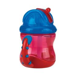 Nuby Trinklernbecher Trinkhalmtasse, auslaufsicher, 240ml, Red