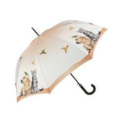 von Lilienfeld Stockregenschirm Regenschirm Hund und Katze vintage, Auf-Automatik, Kunstledergriff
