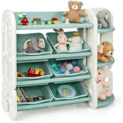 COSTWAY Eckregal Spielzeugregal, mit 6 Aufbewahrungsboxen und 4 Ablagen, Eckregal aus Kunststoff, Kinderregal, Aufbewahrungsregal ideal für Kinderzimmer und Kindergarten