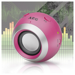 AEG Lautsprecher (Mini Bluetooth Sound System Lautsprecher Box USB AUX-In HiFi AEG BSS 4817 pink)