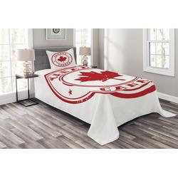 Tagesdecke Set mit Kissenbezügen Waschbar, Abakuhaus, Kanada Gummi-Stempel-Entwurf 170 cm x 220 cm