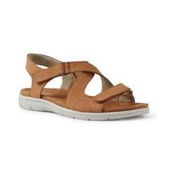Komfort-Sandalen aus Veloursleder, Damen, Größe: 38.5 Weit, Rot, by Lands' End, Zedernholz - 38.5 - Zedernholz