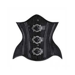 Vintage Goth Corsage Únterbrustkorsett schwarz barock Schnallen 28/40