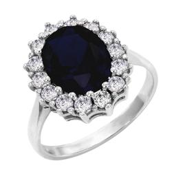 Eleganter Halo Verlobungsring mit Saphir und Diamanten Chrys