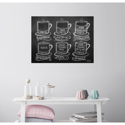 Posterlounge Wandbild, Kaffee-Rezepte (Englisch) 130 cm x 100 cm