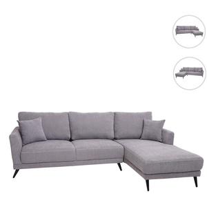 Sofa HWC-G45, Couch Ecksofa L-Form 3-Sitzer, Liegeflche Nosagfederung Taschenfederkern ~ rechts, vintage grau