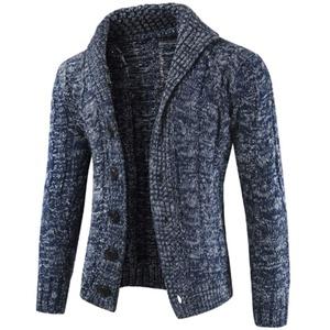 QJKai Herren Strickjacke mit Schalkragen Pullover beiläufige gestrickte Kabel Button-Down-Jumper Langarm warme weiche Winter Strick Jacke (Color : B, Size : XXXL)