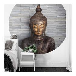 K&L Wall Art Fototapete Runde Fototapete Feng-Shui Tapete Buddha Vliestapete Yoga Meditation Wand Deko, Buddhastatue grau 1.88 m x 1.88 m
