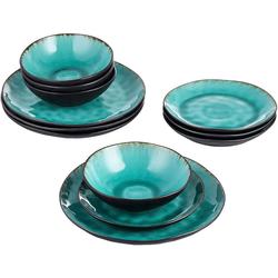 vancasso Geschirr-Set Aqua (12-tlg), Steinzeug, 12 teilig Geschirrset Serviergeschirr aus Steinzeug