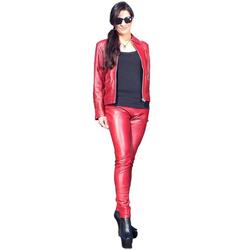 Fetish-Design Lederhose Damen Lederhose Leggings aus Lamnappa Leder Dunkelrot M (38)