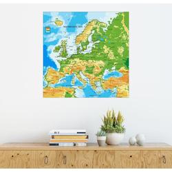 Posterlounge Wandbild, Europakarte (englisch) 70 cm x 70 cm