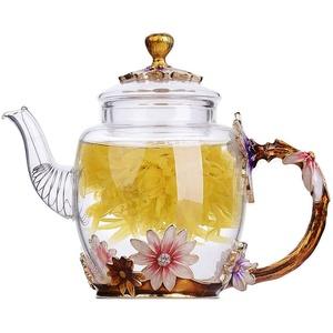Emaille Glas Teekanne, ANSUG Hitzebeständige Blume Glas Teekanne Kung Fu Glas Teekanne für Tee, Saft, Kaffee für Muttertag, Hochzeit, Valentinstag - 300ML/12Oz