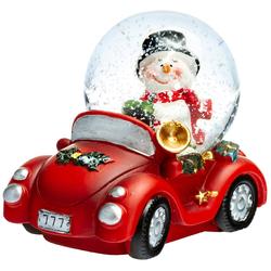 SIKORA Schneekugel SK04 Kleine Glas Schneekugel Schneemann im Auto D:45mm