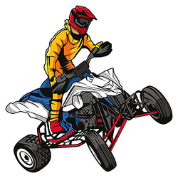Wandtattoo Motocross Quad Fahrer Wandtattoos mehrfarbig Gr. 60 x 60