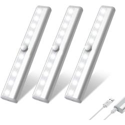 Oneid Schrankleuchte LED Schrankleuchten, 10 LEDs, 3 Stück, Schrankleuchten mit Bewegungsmelder, Kleiderschrank Lampen, Unterbauleiste Beleuchtung, Küchenlampen, Kabinett Nachtlicht, Lichtleisten spiegelschrank Stick-On