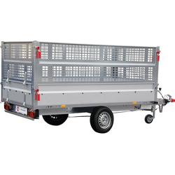 STEMA PKW-Anhänger BASIC SH 1300-25-13, max. 905 kg, inkl. Gitteraufsatz und Flachplane