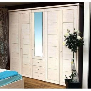 Massivholz Kleiderschrank 5türig Kiefer massiv weiß Schlafzimmer schrank spiegel