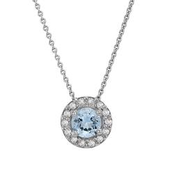 Halo-Halskette in Gold mit Aquamarin und Diamanten rundum Wole