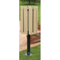 Abfallbehälter aus Stahl mit Holzverkleidung h168119