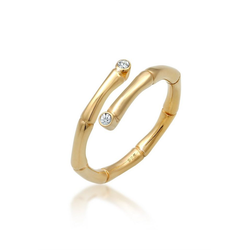 Elli Fingerring Bambus Swarovski® Kristalle offen 925 Silber 54 mm