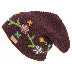 Guru-Shop Strickmütze Wollbeanie mit Blumenstickerei, Nepalmütze -..