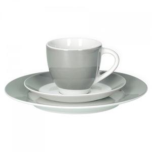 Van Well Kaffeeservice 18-TLG. für 6 Personen Serie Vario Porzellan - Farbe wählbar, Farbe:grau
