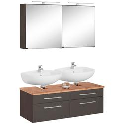 HELD MÖBEL Badmöbel-Set Davos, (2-tlg), 2 Spiegelschrank und Waschbeckenunterschrank grau