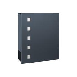 MOCAVI Briefkasten MOCAVI Box 121 Briefkasten mit Zeitungsfach anthrazit-grau (RAL 7016) mit Edelstahl-Design, Aufputzbriefkasten