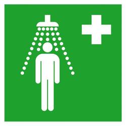 SafetyMarking 15.0062 Hinweisschild Erste-Hilfe-Schild Notdusche Aluminium (B x H) 200mm x 200mm ISO