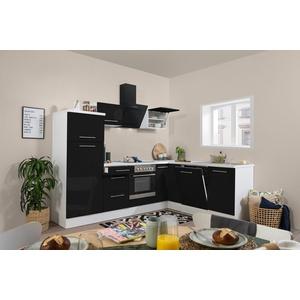 Winkelküche Küchenzeile Küche L-Form Einbauküche 260x200cm respekta weiß schwarz