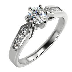 Diamant-Verlobungsring aus Gold im Solitär-Pave Stil Mita