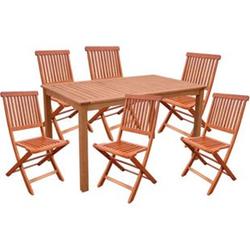 7tlg. Holz Tischgruppe Gartenmöbel Gartentisch Stuhl Garten Hochlehner Tisch