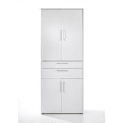 ebuy24 Regal, Mehrzweckregal Prisme Büro Aufbewahrung 4 Türen, 2 Schubladen wei