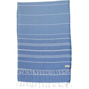 Bersuse 100% Baumwolle - Anatolia XXL Strandtuch Sofa-Überwurf - Grau-Blau