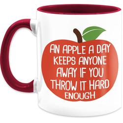 Shirtracer Tasse An apple a day - Tasse mit Spruch - Tasse zweifarbig, Keramik