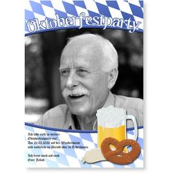 Einladungskarten Oktoberfest (10 Karten) selbst gestalten, Oktoberfest - Party - Blau