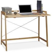 Relaxdays Schreibtisch Bambus mit Kreuzstrebe