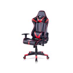 Woltu Gaming-Stuhl Bürostuhl mit Kopf- und Lendenkissen rot